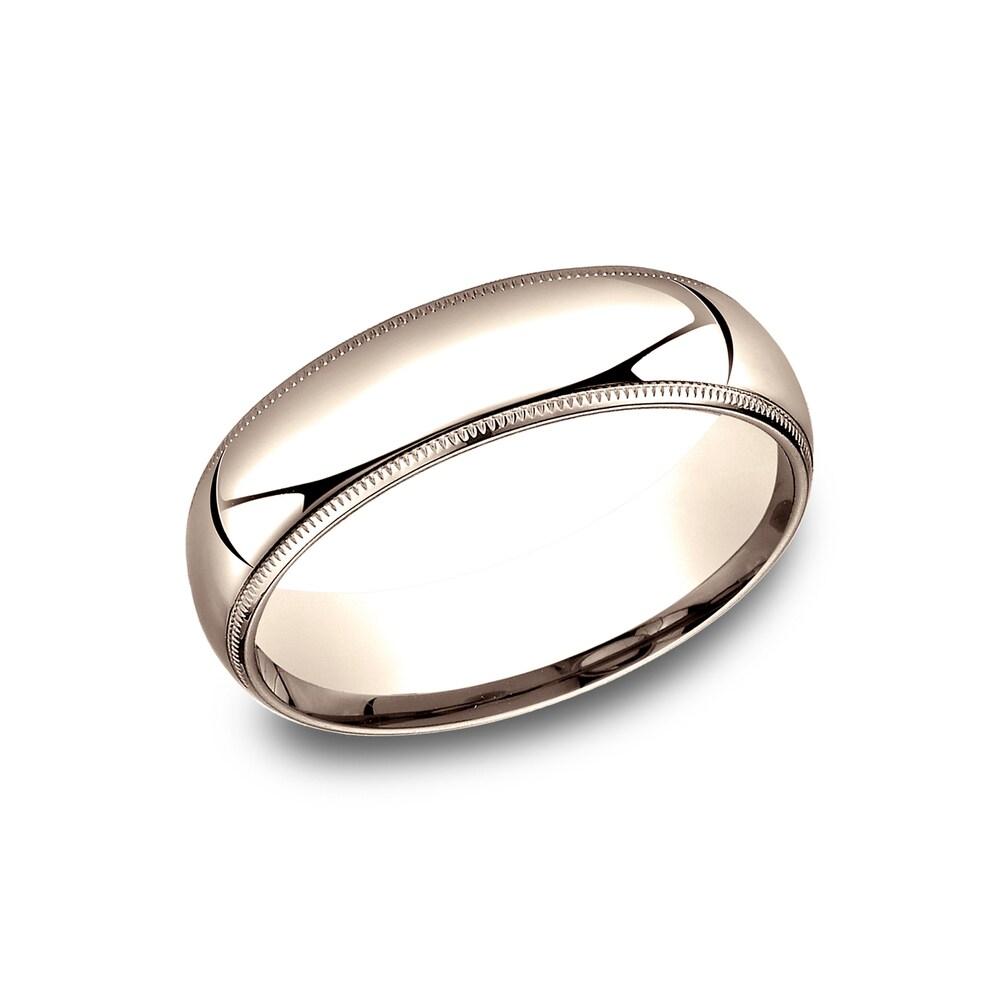 Men's 6mm 14k Rose Gold Comfort-fit Traditional Milgrain Wedding Band - 14K Rose Gold - 14K Rose Gold (Size 13)