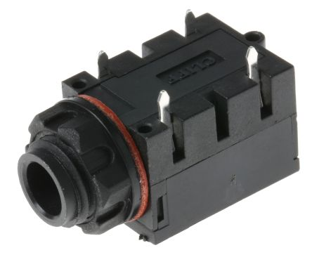 RS PRO 6.35 mm PCB Mount Mono Jack Socket, 1Pole 5A, Black