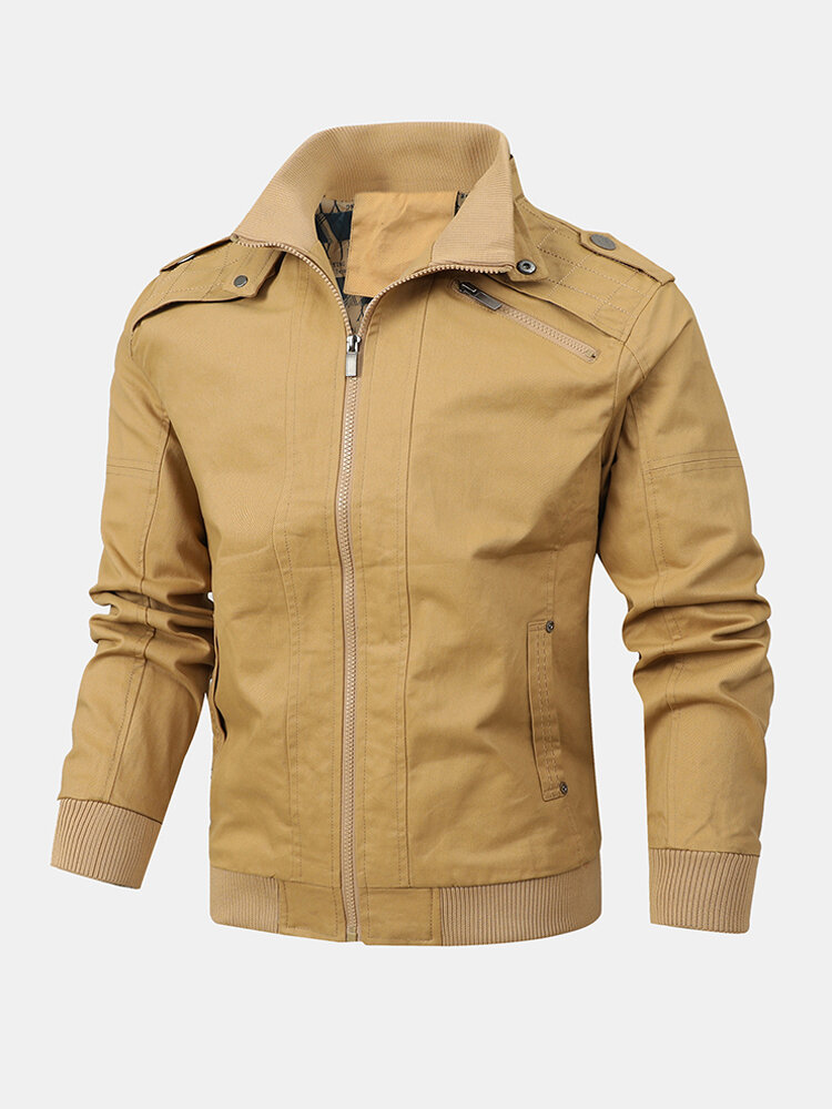 Mens Cotton Solid Color Zip Front Casual Jackets With Pockets