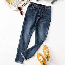 Einfarbige Jeans mit geradem Beinschnitt