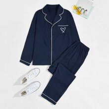Men Heart Print Pocket Top & Pants PJ Set