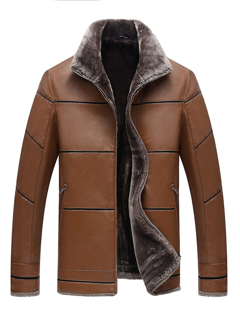 Ericdress Stand Collar Plain Cashmere Lining Mens PU Jacket