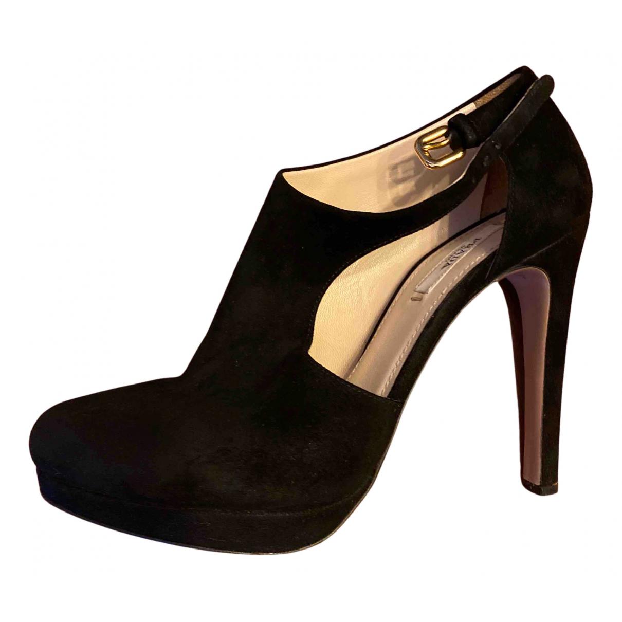 Prada N Black Velvet Sandals for Women 37.5 EU