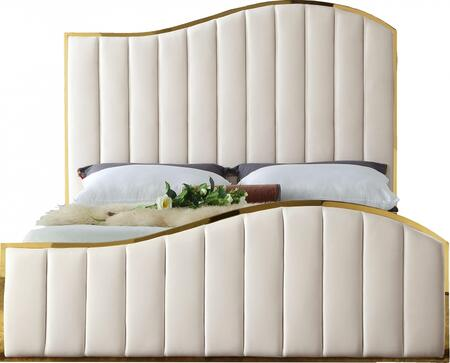 Jolie Collection JOLIECREAM-K 88 King Size Bed with Velvet Upholstery  Channel Tufting  Polished Gold Metal Frame and Contemporary Design in