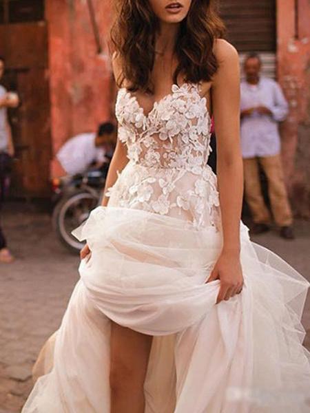 Milanoo Vestidos de novia 2020 Una linea sin mangas hasta el suelo con cuentas Vestidos de novia con cuello en forma de corazon
