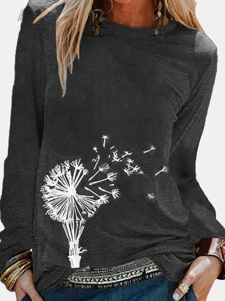 Floral Printed Long Sleeve O-Neck Blouse