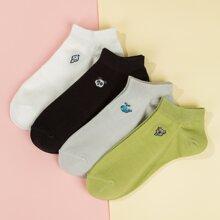 4 Paare Socken mit bunter Grafik