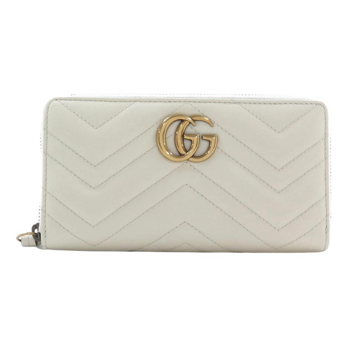 Gucci - Portefeuille Marmont pour femme en cuir - blanc