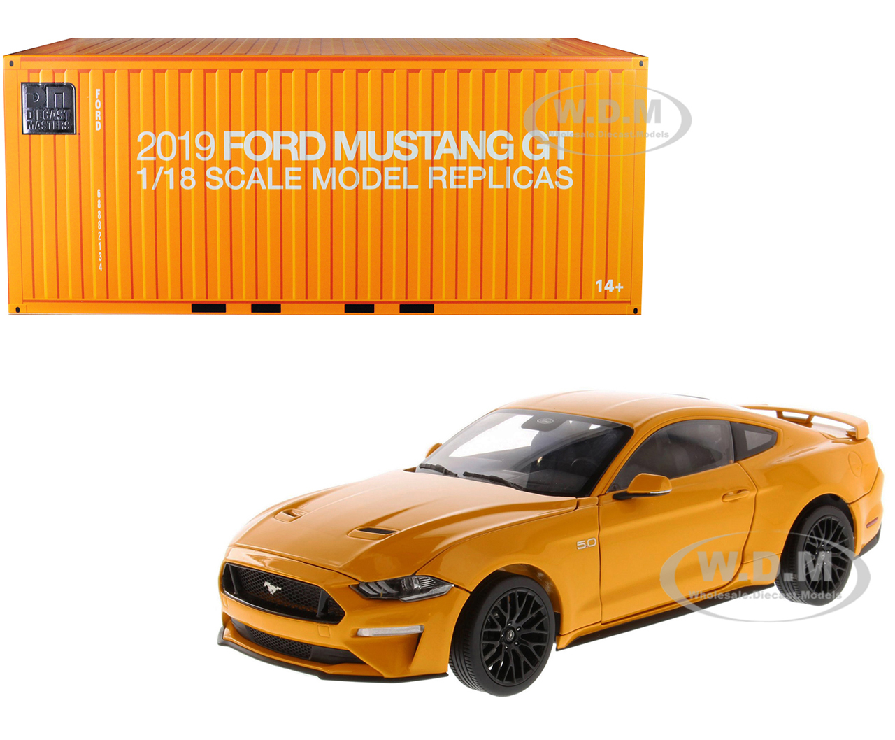 2019 Ford Mustang GT 5.0 Coupe Orange Fury Metallic 1/18 Diecast Model Car by Diecast Masters