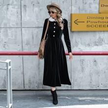 Samt Kleid mit Kontrast Spitze, Peter Pan Kragen und Knopfen vorn