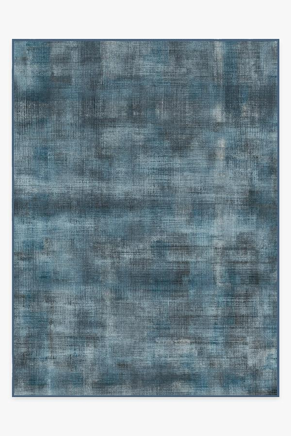 Washable Rug Cover | Sudaria Solid Cosmic Blue Rug | Stain-Resistant | Ruggable | 9'x12'