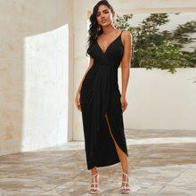 Draped Ruched Asymmetrical Hem Dress