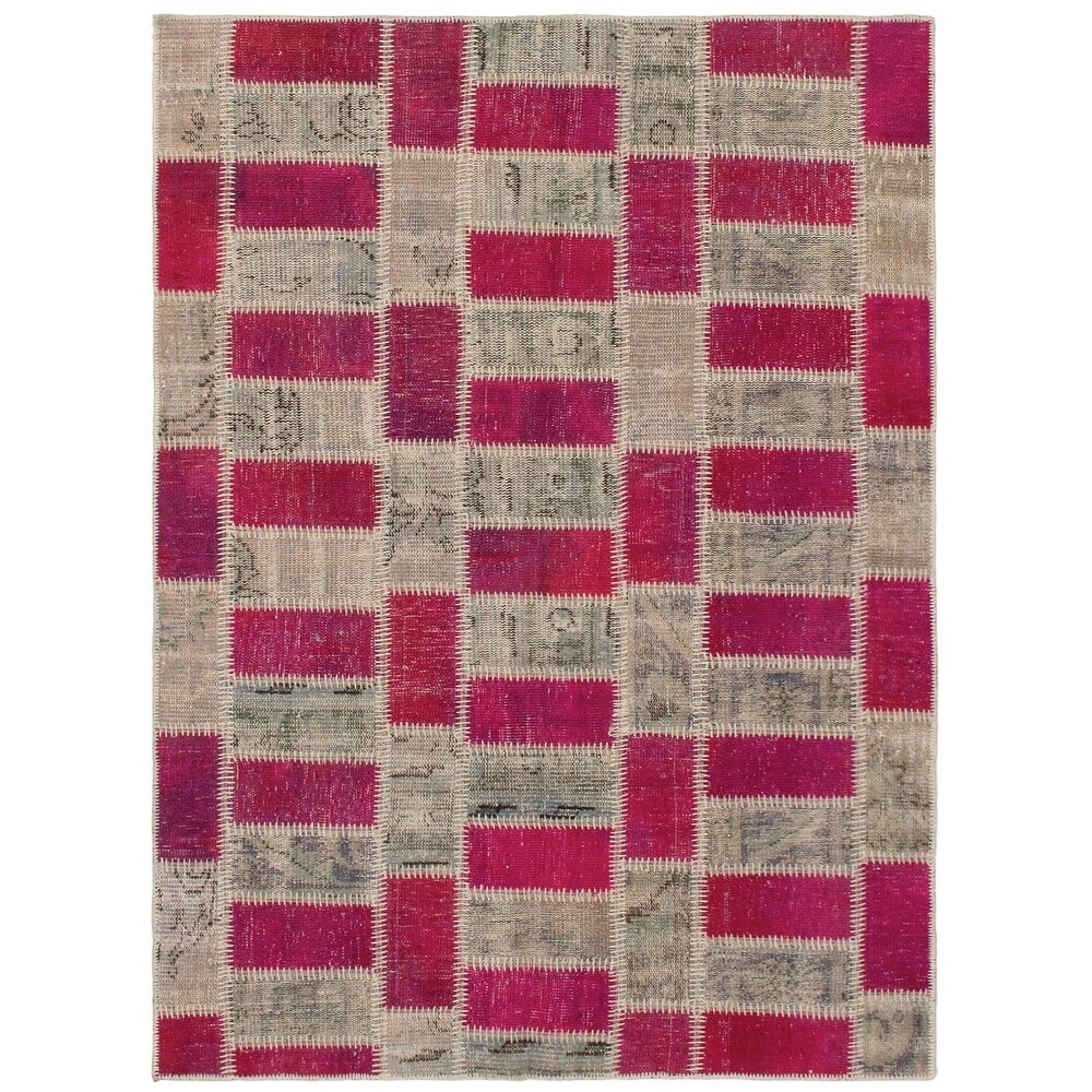 ECARPETGALLERY Hand-knotted Color Transition Patchwork Red Wool Rug - 4'6 x 6'8 (Dark Red/ Tan - 4'6 x 6'8)