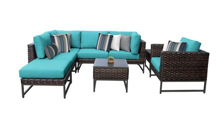 Barcelona BARCELONA-08m-BRN-ARUBA 8-Piece Patio Set 08m with 2 Corner Chairs  1 Club Chair  2 Armless Chairs  1 Ottoman and 2 End Tables - Beige and
