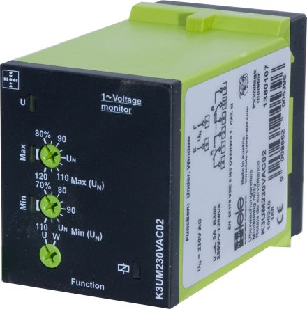 Tele Voltage Monitoring Relay With DPDT Contacts, 230 V ac Supply Voltage, 1 Phase, Undervoltage