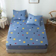 1 pieza sabana ajustable con estampado de estrella sin almohada