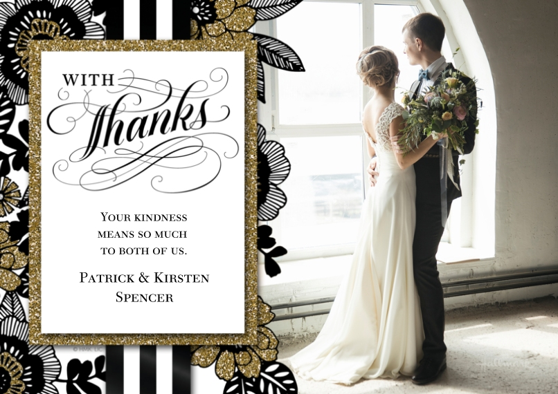 Wedding Thank You 5x7 Cards, Premium Cardstock 120lb, Card & Stationery -Sophisticated Floral Thanks