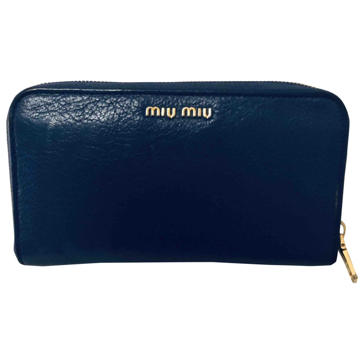 Miu Miu - Portefeuille   pour femme en cuir - bleu