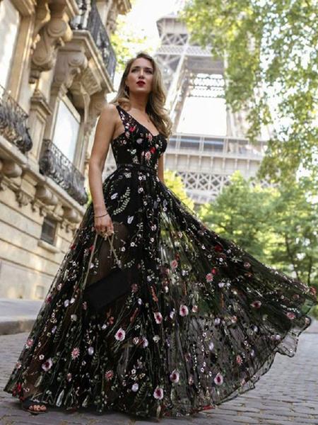 Milanoo Black Maxi Dress V Neck Sleeveless Flower Embroidered Tulle Party Long Warp Dress