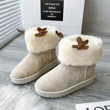 Cartoon Antlers Decor Fluffy Boots