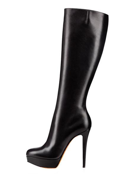 Milanoo de cuero autentico de puntera redonda botas altas mujer 14cm botas altas negras de tacon de stiletto negro  Color liso estilo street wear