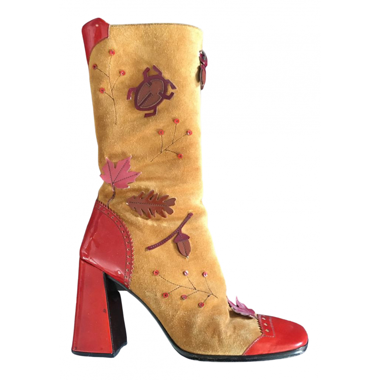 Prada \N Beige Leather Boots for Women 38.5 EU
