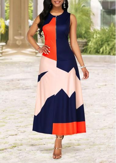 Rosewe Women Dress Color Block Sleeveless Zip Front Maxi Casual - L