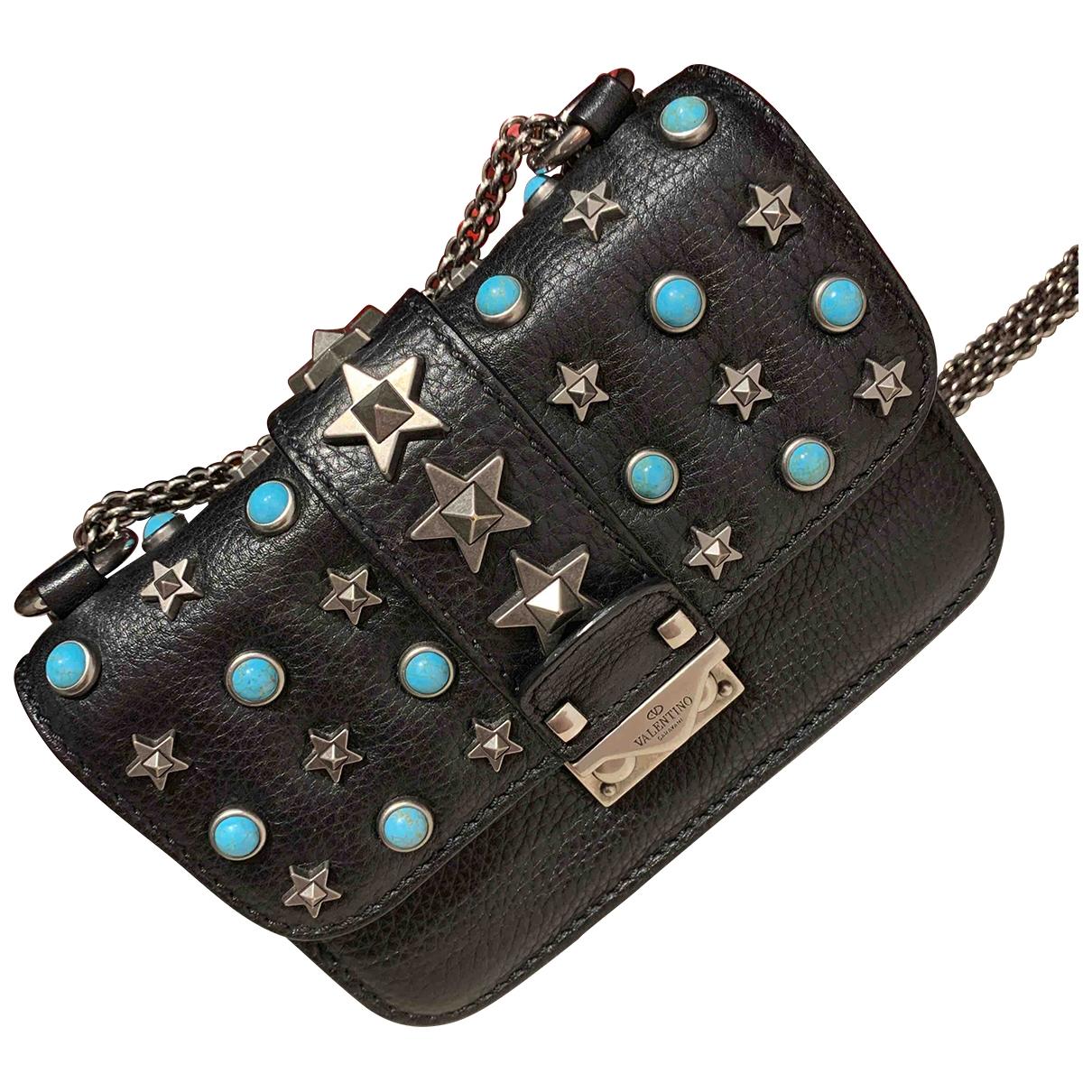 Valentino Garavani - Sac a main Glam Lock pour femme en cuir - noir