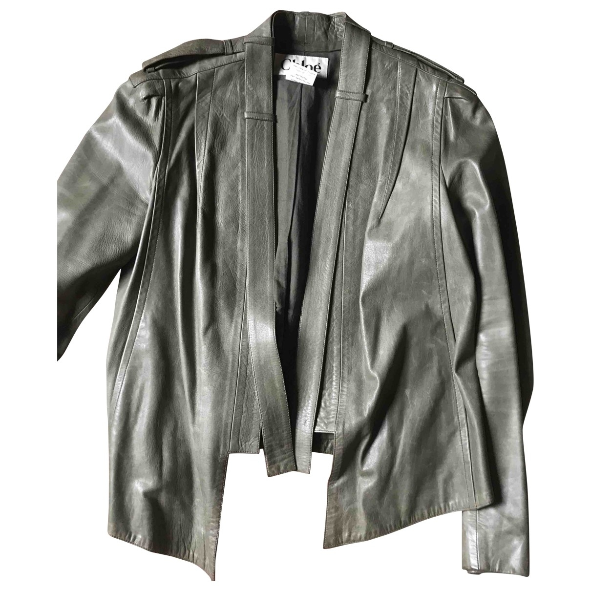 Chloé \N Green Leather Leather jacket for Women 40 FR