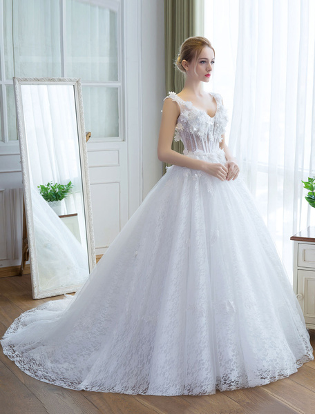 Milanoo Wedding Dresses Princess Ball Gown Ivory Bridal Gown V Neck Illusion Backless Lace 3D Flowers Bridal Dress With Train