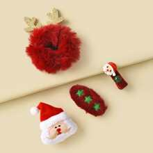 4 piezas horquilla y goma de pelo con diseño de Papa Noel de Navidad
