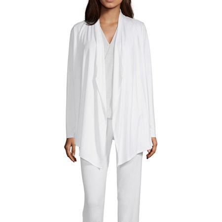 Liz Claiborne Studio Womens Long Sleeve Cardigan, Petite X-small , White