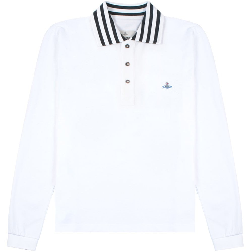 Vivienne Westwood Long Sleeve Stripe Collar Polo Shirt Colour: WHITE, Size: EXTRA EXTRA LARGE