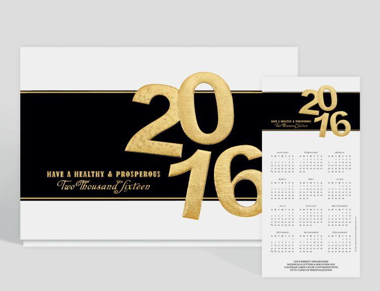Elegant Year Calendar Card - Greeting Cards