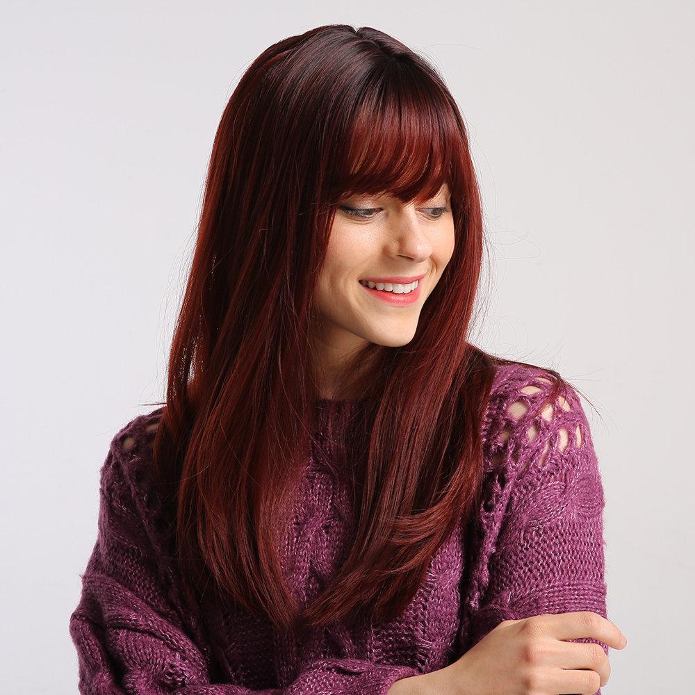 20 Inch Full Bangs Black Wine Red Gradient Chemical Fiber Wigs Heat Resistant Medium Length Straight