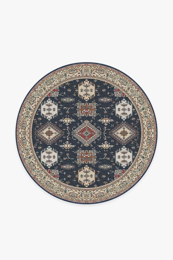 Washable Rug Cover & Pad | Ademi Royal Blue Rug | Stain-Resistant | Ruggable | 6' Round
