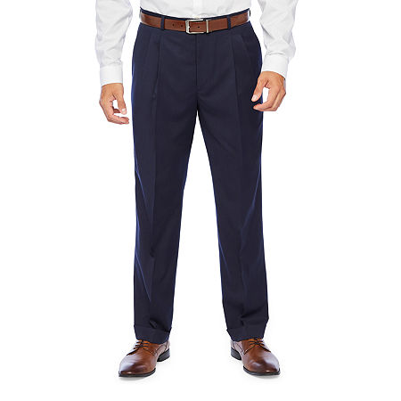 Stafford Super Mens Classic Fit Pleated Suit Pants, 44 30, Blue