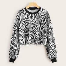 Drop Shoulder Zebra Striped Pullover