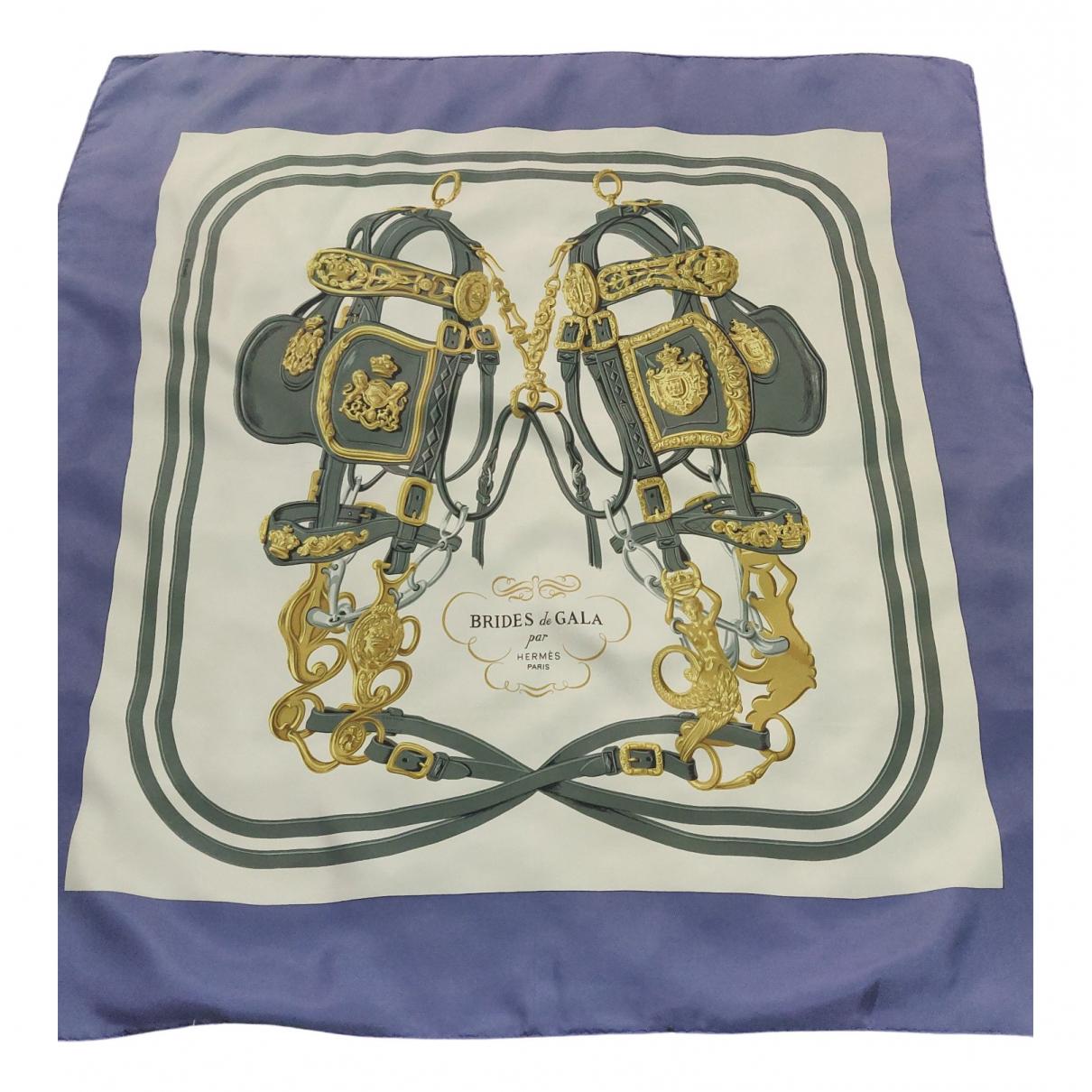 Hermes - Carre Carre 90 pour femme en soie - violet