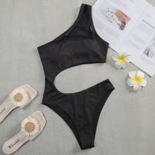 Gerippter einteiliger Badeanzug mit Ausschnitt und einer Schulter