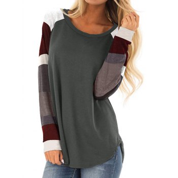 Color Blocking Curved Hem Raglan Sleeve Tee