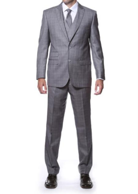 Zillo Grey 3 Piece Vested Window Pane Slim Fit Plaid Suit