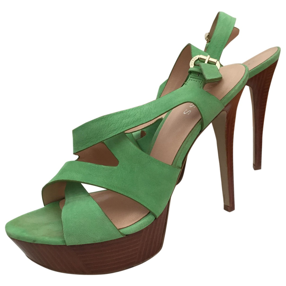 Guess N Green Leather Sandals for Women 39 EU