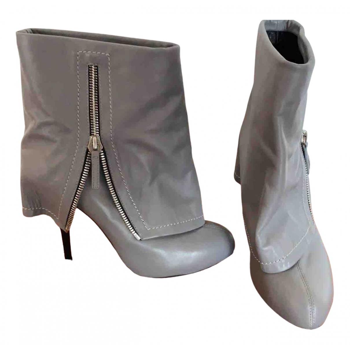 Giuseppe Zanotti \N Grey Leather Ankle boots for Women 40 EU