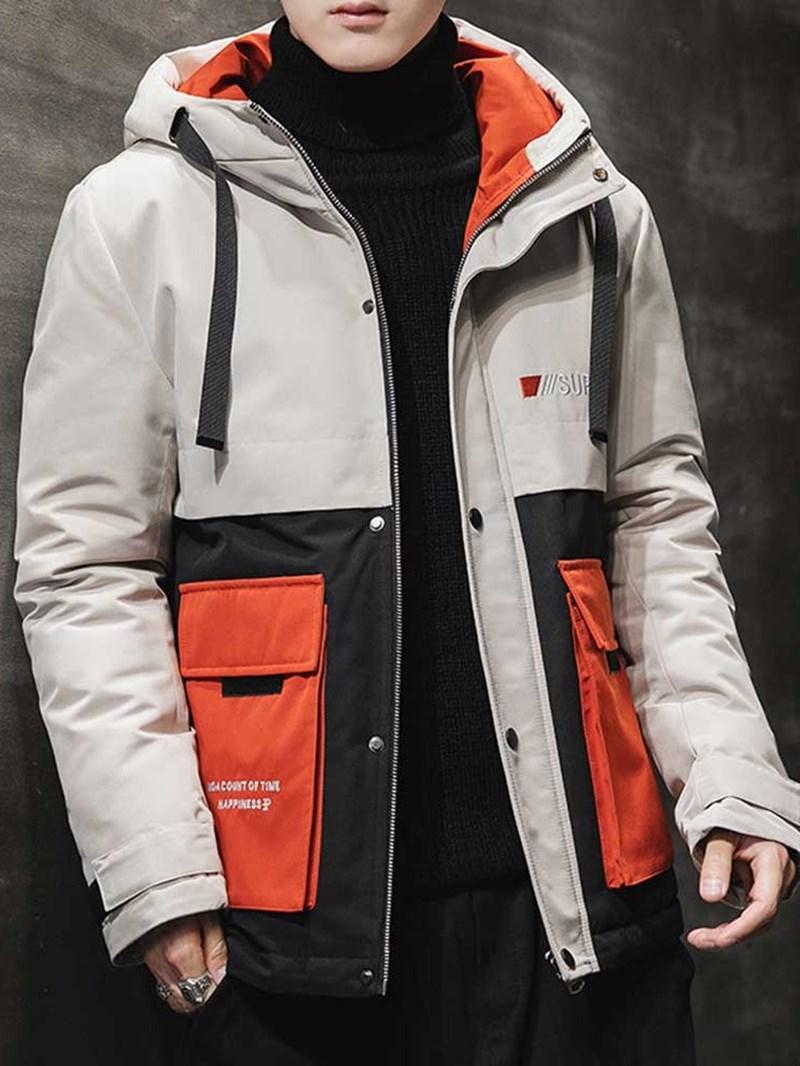 Ericdress Hooded Zipper Color Block Casual Mens Down Jacket