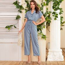 Notched Collar Buttoned Front Roll Up Sleeve Polka Dot Jumpsuit