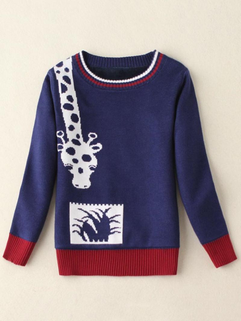 Ericdress Giraffe Print Color Block Hedging Sweater