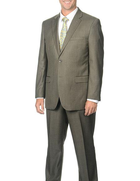Caravelli Mens Classic Taupe 2Button Notch Collar Single Breasted Suit