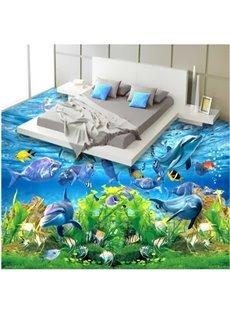 3D Aquatic Dolphins and Turtle Pattern Waterproof Nonslip Self-Adhesive Blue Floor Art Murals