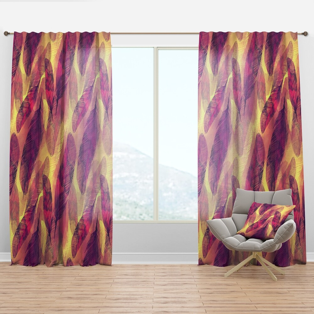 Designart 'Feathers Boho Pattern' Southwestern Curtain Panel (50 in. wide x 120 in. high - 1 Panel)